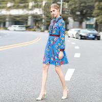 pasarela estampado de flores al por mayor-Milan Catwalk New High Quality Runway Designer 2018 Otoño Fashion Women Party Party Girls Flower Print Vestido de manga larga NB-067