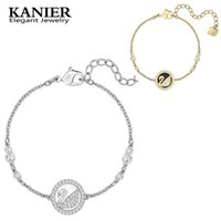 Wholesale pearly whites - KANIER SWAROSKI 100% 925 Sterling Silver Original Copy Has PEARLY SWAN Bracelet White Plate Bracelet Ladies DIY Beaded Jewelry
