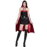 free vampire movie NZ - Women Gothic Witch Vampire Costume Roles Playing Cosplay Dress+Cap Cloak Masquerade Halloween Batwoman Cosplays