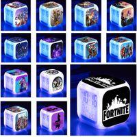 alarme de iluminação digital venda por atacado-Despertador Fornite Com Led Cor Colorida Relógio Digital Colorido Flash Touch Light Mesa de Mesa Relógios de Mesa Presente de Natal WX9-970