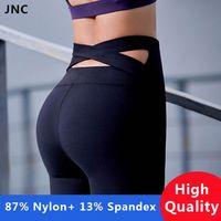 collants croisés achat en gros de-Pantalon de yoga taille haute de sangle noire de haute qualité pour les femmes Pantalon de course de sport taille haute violet Push Up Leggings de yoga dos croisé