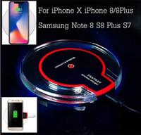 cargadores inalámbricos ipad al por mayor-Cargador inalámbrico rápido Qi, almohadilla de carga para iphone ipad 8x 7 6 más Samsung Galaxy S7 S7 edge / S6 Edge Note 5 4