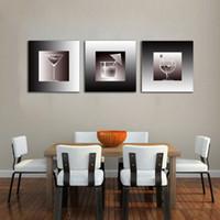 arte de la pared lienzo vino panel al por mayor-3 unidades lienzo sin marco de pared pintura del arte jugo y vino cocina telón de fondo imagen moderna decoración del hogar cartel