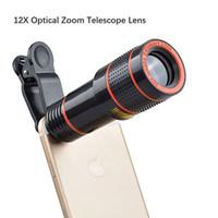 cep telefonları için yakınlaştır toptan satış-Cep Telefonu Kamera Lens 12X Zoom Telefoto Evrensel Klip Lens Kiti iphone X / 8/8 artı / 7/7 artı / 6 S / 6 Artı ve Android veya diğer