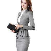 jupe uniforme de travail achat en gros de-2018 Elegant Volants Uniforme De Jupe Costume Automne Pleine Manches Blazer Veste + Jupe 2 Pièces Femme Travail Jupe Costumes ow0380