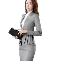weibliche arbeitsanzüge großhandel-2018 elegante Rüschen Büro Uniform Rock Anzug Herbst volle Hülse Blazer Jacke + Rock 2 Stück weibliche Arbeit Rock Anzüge ow0380
