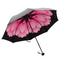 ingrosso colore soleggiato-Redcolorful Umbrella Rain Women Three-folding Rivestimento di colore 3D Flower Stampa Sunny and Rainy Umbrella Parasol Paraguas Anti UV30