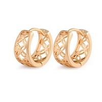полые серьги обруча оптовых-Women Hollow Out Hoop Earrings Gold Color Vintage Metal Alloy Brincos Europe Punk Earrings Wide Fashion Hoop Jewelry