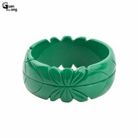 Wholesale Romantic Collection - whole saleGuanLong Romantic Floral Resin Carved Leaf Bangle Bracelet Jewelry 2017 Collection Femme Bangles Puseiras Jewellery