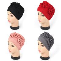 ingrosso fiori india-Cappelli musulmani pieghevoli India Brand Designer Style Cap Moda Double 3D Flower Fashion Berretti per le donne Molti colori 7er AZ