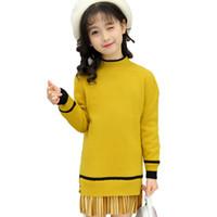 ingrosso maglione giallo di cardigan delle ragazze-ragazze maglioni 2018 autunno inverno baby cardigan giallo marrone verde nero spesso caldo maglioni per bambini 3-11 anni nuovi vestiti di moda