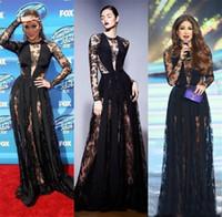 ingrosso zuhair murad indossa i vestiti-Abiti da sera Zuhair Murad Abiti da sera a maniche lunghe di illusione nera Abiti da sera in pizzo trasparente Vestiti da celebrità con tappeto rosso formale