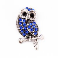Wholesale button bracelets online - Wholesales mm mm Rivca Snaps Button DIY Jewelry Rhinestone Alloy Owl Charm Beads for Noosa Chunks Strands Earring