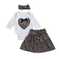 leopar bebek tutu etek takımları toptan satış-Yeni Moda Yenidoğan Bebek Kız Leopar Uzun Kollu Romper + Tutu Etekler Elbise 3 adet Kıyafetler Set Giysileri