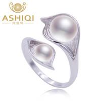 anillo de perlas negro plata esterlina al por mayor-ASHIQI perla natural 925 plata esterlina anillo doble perla joyas 7-8mm de agua dulce blanco rosa púrpura negro