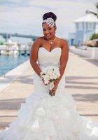 sirène volants ceinture achat en gros de-2019 robes de mariée sirène rétro africaine chérie plus la taille cristal perlée ceinture organza volants à plusieurs niveaux des robes de mariée formelle sur mesure
