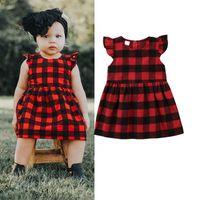 prenses siyah elbise bebek kızları toptan satış-2018 Çocuk Bebek Kız Ekose Tutu Elbise Siyah Kırmızı Elbiseler Fırfır Toddler Çocuk Prenses Kolsuz Kareli Parti Pageant Düğme Elbiseler