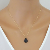 Wholesale kt jewelry - 12pcs lot Lava Diffuser Necklace, 14 kt Gold fill Essential Oil Diffuser Teardrop Lava Necklace Jewelry Dainty necklace