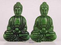Wholesale asian statues - 2 GREEN JADE PENDANT CARVED BUDDHA STATUE SPIRITUAL BELIEF FIGURINES COLLECTABLE