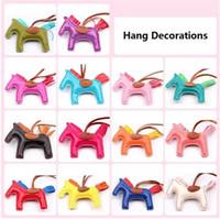 Wholesale Key Chain Charms Wholesale - Fashion Cute Women's Bag&Car Pendant High-end Handmade PU Handbag Key Chains Tassel Rodeo Horse Bag Charm