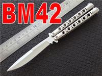 Wholesale Hunting Channel - Channel Construction BM 42 BM42 Butterfly Knife NOT Titanium Plain tactical knife knives w  sheath BM40 BM41 BM43 BM46 BM47 BM49