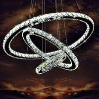 einstellbare leuchte großhandel-Moderne Chrom Kronleuchter Kristalle Diamant 3 Ring LED Lampe Edelstahl Hängende Leuchten Einstellbar Cristal LED Glanz