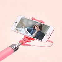 ayna monopodu toptan satış-Kablolu Şeker Özçekim Sopa iPhone 6 Için 6 s Artı 5 5 s Android Cep Telefonu Özçekim Sopa ile Samsung S6 s8 için ayna Monopod