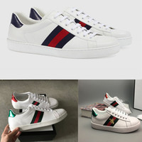 Wholesale embroidered appliques - Personality Fashion Luxury Brands Designer Sneakers Lace-up Running Shoes With Top Quality Genuine Leather Bee Embroidered Men Women Casual