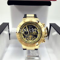 Wholesale bronze star gifts - May month Best gifts friends family Star Dial INVICTA Watches Luxury Golden Silica gel Watch Clock Calendar relogio MEN P194