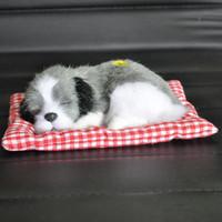 sıcak köpek bebek oyuncağı toptan satış-Sıcak Sevimli Bebek Hayvan Doll Peluş Uyku Köpekler Doldurulmuş Oyuncaklar ile Ses Çocuklar Çocuklar Için Kawaii Noel Doğum Günü Yeni Yıl Hediye