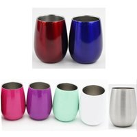 Wholesale china cups lids for sale - 9oz Red wine glasses Double Wall Stainless Steel Beer Egg Shaped Wine Glass Cups Outdoors Mugs Wine Tumbler oz kids cups with lids