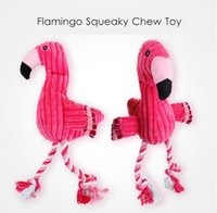 Wholesale wholesale pet bird toys - Flamingo Shape Pet Dogs Puppy Squeaky Chewing Toys Bird Shape Plush Toys Cotton Rope Chewing Training Toys Pet Supplies
