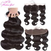 saçlı ön kapak toptan satış-Manikür hizalanmış saç Malezya Vücut dalga Saç Demetleri Ile Dantel Frontal 13 * 4 Kapatma Ile Insan Saç Demetleri 3 Parça Kapatma Olmayan Remy