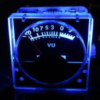 tv luz azul al por mayor-Freeshipping 2pcs DC 12v Panel analógico VU Medidor Medidor de nivel de audio azul Luz de fondo No necesita controlador