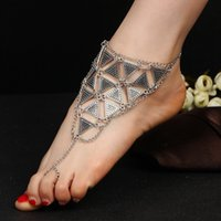 Wholesale white gold chain anklets online - Triangle Alloy Anklet Ankle Bracelets Silver Gold Chain Foot Stainless Steel Jewelry Wedding Party Decorations Birthday Day Gift