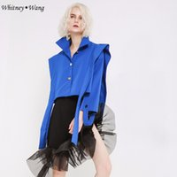 ingrosso trincea increspata-WHITNEY WANG 2018 Autunno Fashion Streetwear Designer Style Ruffles Nastri Trench Coat Cappotto Casual Donna Outweat WW-2178