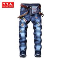 ingrosso i jeans floreali ansimano l'annata-Jeans da uomo slim fit nuovi di zecca slim fit con ricamo floreale vintage pantaloni casual di grandi dimensioni streetwear biker denim jeans pantaloni a matita
