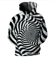 eşsiz hoodies sweatshirts toptan satış-2018 Erkek 3d Çizgili Hoodies Benzersiz Dönen Girdap Hattı Baskı Üst Serin Tasarım Hip Hop Kapüşonlu Tişörtü Plus003