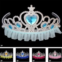 Wholesale hair tiara costume resale online - Cosplay Costume Royal Tiaras Girls Princess Crown Plastic Lace Edge Children Kids Adult Rhinestone Hair Accessories Party Favor TY7