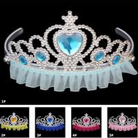 saç taç kıyafeti toptan satış-Cosplay Kostüm Kraliyet Tiaras Kız Prenses Taç Plastik Dantel Kenar Çocuk Çocuk Yetişkin Taklidi Saç Aksesuarları Parti Favor TY7-120