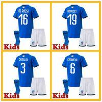 Wholesale Italy World Cup Jerseys - Buffon ITALY kids soccer Jerseys 2018 WORLD CUP home blue CANDREVA CHIELLINI home EL SHAARAWY BONUCCI INSIGNE BERNARDESCHI FOOTBALL SHIRTS