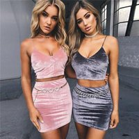 Wholesale Hot Night Club Clothes - 2018 New hot Women Clothing Summer Velvet Dress Sexy Party Beach Vest Two Piece Sets V Neck Strap Skinny Bodycon Dresses