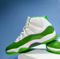 яблочный баскетбол оптовых-Новый 11 XI Apple Green мужчины баскетбол обувь спорт 11s белые кроссовки тренеры 2018 скидка новый хороший открытый высокое качество размер 7-13