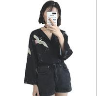 ingrosso camicia chiffona della corea-Camicia con scollo a V in chiffon di estate della Corea retro moda