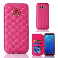couronne en cuir pu achat en gros de-Rivet Glitter Diamond Crown Etui portefeuille en cuir avec cadre photo Flip Cover pour iPhone X 8 7 6 S Plus Samsung S9 S8 Plus Note8 S7 bord