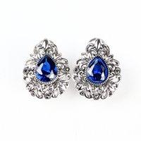 ingrosso gioielli scolpiti squisiti-Exquisite 925 gioielli in argento colore vivido rubino zaffiro retrò fiore scolpito in argento polsino dell'orecchio moda femminile orecchini d'argento