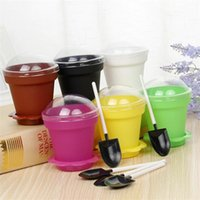 Wholesale mousse cups for sale - Group buy Plastic Flower Pot Cake Cups Round With Lids Spoon Mousse Ice Cream Cup Wear Resistant Baking Pastry Tools Portable jm BB