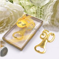 Wholesale birthday giveaways resale online - 50PCS th Bottle Opener Anniversary Favors th Wedding Party Keepsake Birthday Gifts Supplies Event Giveaways Ideas