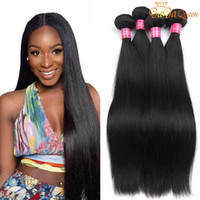 Wholesale 22 real human hair extensions - 8a Brazilian Hair Extensions Virgin Brazilian Straight Hair Weave 4pcs Real Brazilian Human Hair Bundle No Shed No Tangle Free Shipping