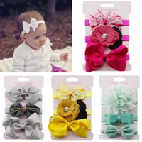Wholesale hair comb flower pink for sale - 3Pcs Kids Elastic flower headband Headbands Hair Girls baby Bowknot Hairband baby girl accessories set photography
